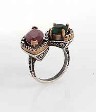 Natural Stone Statement Victorian Design Ring - L23197