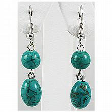 Natural 19.77ctw Turquoise Silver Dangling Earring - L15924
