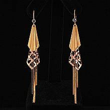 ROSE & GOLD PLATED PARTY DROP EARRINGS 10.77g - L21731