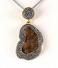 Geode Druzy Natural Stone Pendant Victorian Design - L23016