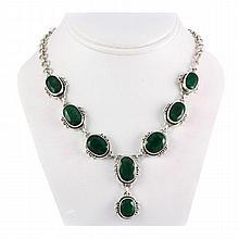 256ctw Fashion Emerald Silver Necklace - L10753