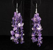 55.63CTW FOUR ROWS CHIPPED AMETHYST BEADS HOOK EARRING - L19678