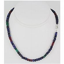 174.63ctw Natural Multi-Color Rondelles Necklace - L15546