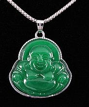 NATURAL 32.01CTW JADE BUDDHA SILVER PLATED PENDANT - L19625