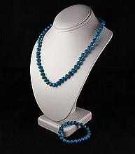 Plain and Simple Turquoise Set Necklace and Bracelet - L23249