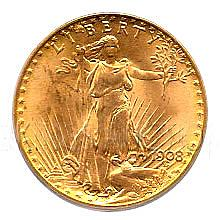 $20 Saint Gaudens Uncirculated Early Gold Bullion - L18144