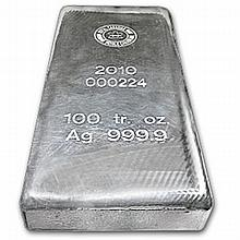 100 oz Royal Canadian Mint RCM .9999 Fine Silver Bar - L24784