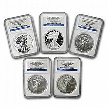 2011 (5 Coin) Silver Eagle Set MS/PF-70 NGC 25th Anniv ER - L22710