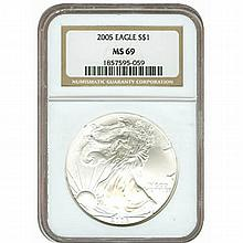 Certified Uncirculated Silver Eagle 2005 MS69 - L17961