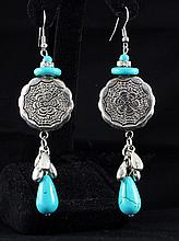 17.74GRAMS ANTIQUE LOOKS TURQUOISE SILVER EARRING - L19668