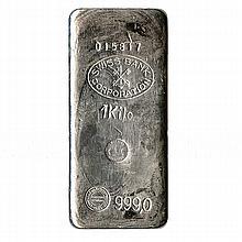 Silver Bars: Random Manufacturer 1 Kilo (32.15 oz) Bar .999 fine - L18020