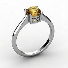 Citrine 0.70 ctw Ring 14kt White Gold - L15174