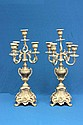 Pair brass 5 arm candelabrum