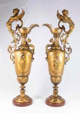 Pair Figural Spelter Ewers on Marble Bases