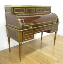 Louis XVI Style Walnut Cylinder Roll Top Desk
