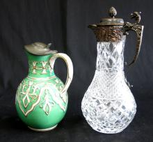 Crystal & Silvered Bronze Pitcher & Porcelain Ewer