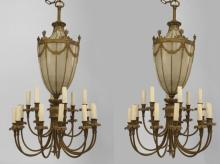 Pair George III Style Brass 18 Light Chandeliers