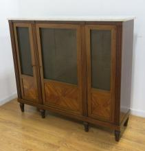 French Louis XVI Style Walnut 3-Door Cabinet