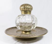 Continental Brass & Glass Inkwell