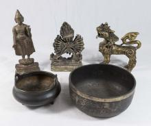 Lot of 5 Metal Asian Items
