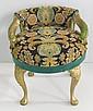 Italian carved needlepoint upholsered vanity stool