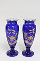 Pair cobalt vases with enamel paint decoration