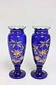Pair cobalt vases with enamel paint decoration