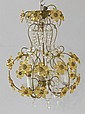 Brass & crystal floral 3 light chandelier
