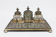 Brass and copper inkwell with 2 glass bottles