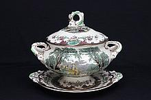 Covered English soup tureen with underplate
