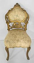 19thc Louis XV style gilt Rococo carved side chair