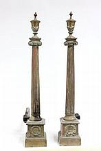 Pair 19th c. brass andirons