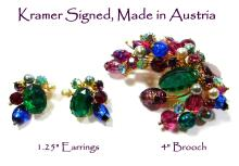 Exceptional Signed Kramer - Made in Austria Large Rhinestone & Molded Glass Spray w/Earrings SET