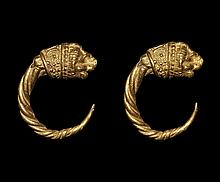 Greek Gold Lion-Head Earrings