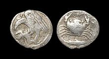 Ancient Greek Coins - Agrigentum - Crab Hemidrachm