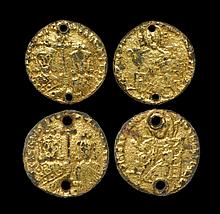 Ancient Byzantine Coins - Basil I and Constantine - Gilded Pseudo-Solidus Pair