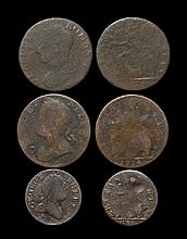 English Milled Coins - George II to George III - Evasion Halfpennies and Farthing Group [3]