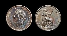 English Milled Coins - George IV - 1826 - Penny