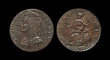 English Milled Coins - George II - 1751 - Evasion Heavy Flan Halfpenny
