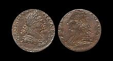 English Milled Coins - George III - 1770-1775 - Evasion Obverse Brockage Halfpenny