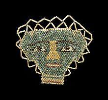 Egyptian Glazed Composition Mummy Bead Mask