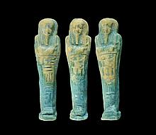 Egyptian Glazed Composition Shabti Group