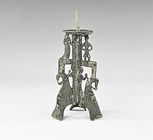 Medieval Romanesque Figural Candlestick