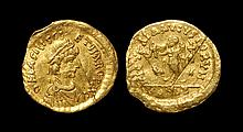 Ancient Byzantine Coins - Basiliscus and Marcus - Gold Victory Tremissis