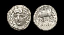 Ancient Greek Coins - Thessaly - Larissa - Horse Grazing Drachm