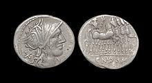 Ancient Roman Republican Coins - Cn. Domitius Ahenobarbus - Jupiter in Quadriga Denarius