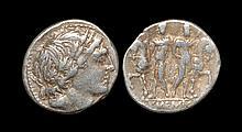 Ancient Roman Republican Coins - L. Memmius - Dioscuri Denarius