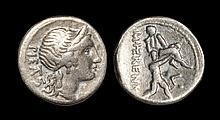 Ancient Roman Republican Coins - M. Herennius - Amphinomus and Father Denarius