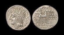 Ancient Roman Republican Coins - Lucius Appuleius Saturninus - Saturn in Quadriga Denarius