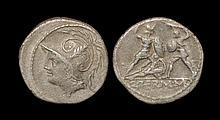 Ancient Roman Republican Coins - Q. Thermus M. f. - Warriors Fighting Denarius